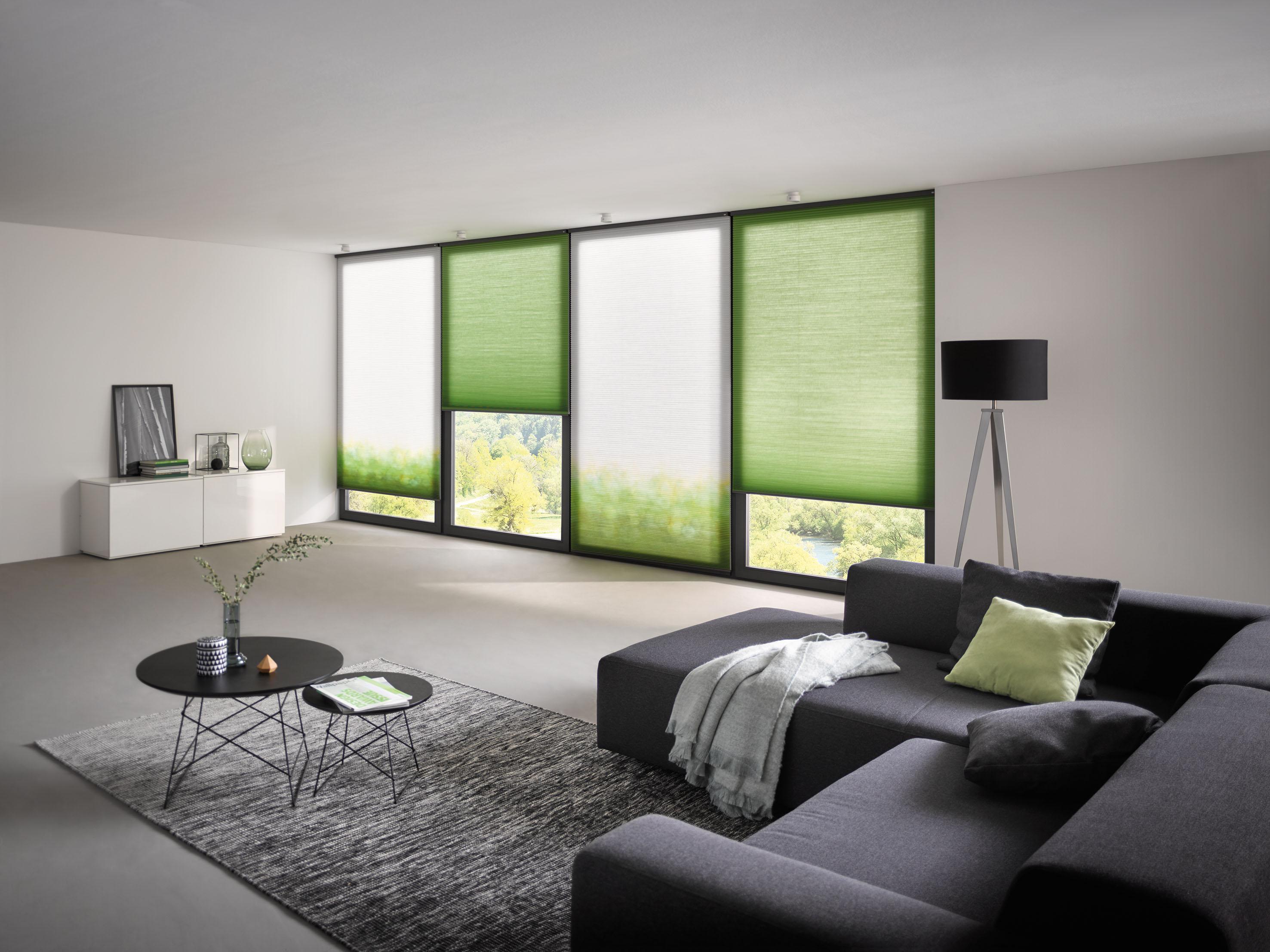 Plissee nach Mass – Wohnzimmer mit Couch